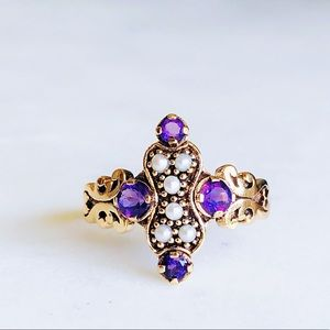 Jewelry - Vintage 9K Yellow Gold Amethyst Seed Pearl Ring